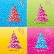 Colorful Christmas tree background set. Vector. — 图库矢量图片