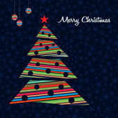 Colorful stripes Christmas tree background. Vector. — Stock Vector