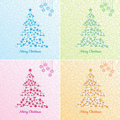 Christmas tree background set. Vector. — Stock Vector