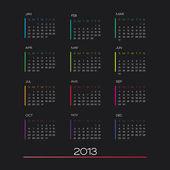 Calendar 2013 vector — Stock Vector