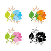Flower set. Vector. — Stock Vector