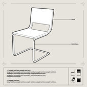 Chair blueprint. Vector. — Stock Vector