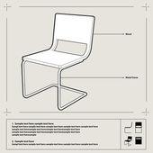 Chair blueprint. Vector. — Stock Vector