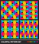 Colorful geometric pattern set. Vector. — Stock Vector