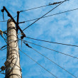 Electric pole with cables — Stock Photo