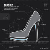 Woman shoes design. Vector. — 图库矢量图片
