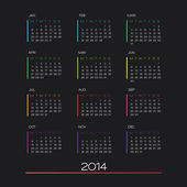 Calendar 2014 vector — Vetorial Stock
