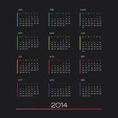 Takvim 2014 vektör — Stok Vektör