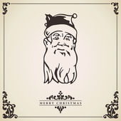 Santa Claus vintage Christmas card. Vector. — Stock Vector