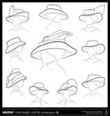 Vintage woman hat vector drawing set. — Stok Vektör