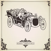 Santa Claus driving a car. Christmas card. — Stock Vector
