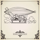 Santa Claus in dirigible. Vector card. — Vettoriale Stock
