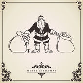 Santa Claus gift sacks. Vintage Christmas card. — Vector de stock