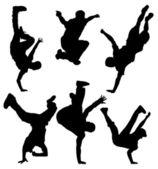 Break Dancers Silhouette — Stock Vector