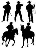 Silhouette cowboy — Vector de stock