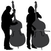 Bass Player Silhouette — Stock Vector