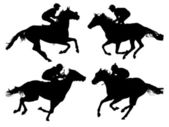 Horse Racing Silhouette — Stock Vector
