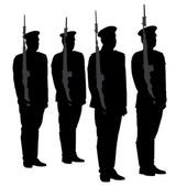 Honor Guard Silhouette — Stock Vector