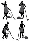 Cleaning Lady With Vacuum Cleaner — Stock Vector
