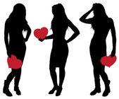 Silueta de una chica sosteniendo un corazón — Vector de stock