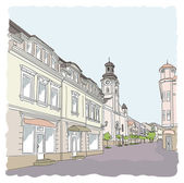 Street in the old town. Vector illustration. — Stock Vector