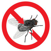 Flies banned. Sign prohibited. — Stock Vector