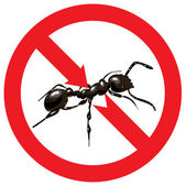 Ants banned. Sign prohibited. — Stock Vector