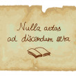 Nulla aetas ad discendum sera - It is never too late to learn. — Stock Vector