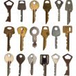 Keys from the door isolated. Collection. - Stock Photo