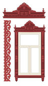 La ventana de madera decorada — Vector de stock