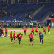 Player of the Frankfurt Football Club Eintracht are warming up - Stock Photo