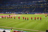 Player of the Frankfurt Football Club Eintracht are warming up — Stock Photo