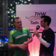 Christan Zeitz Interview after a handball game — Stockfoto
