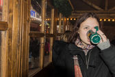 Girl with mulled wine — Stock Photo