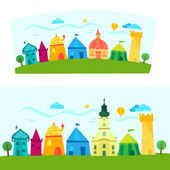 Colorful town book illustration — Stock Vector
