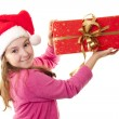 Cute little girl with Santa s hat — Stock Photo