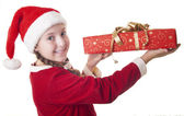Look how big is my Christmas present! — Stock Photo
