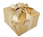 Present With Gold Ribbon — Stock Photo