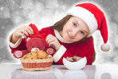 Happy Christmas girl with teddy bear — Stock Photo