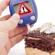 Blood Sugar Test With Warning Sign — Stock Photo #18380719