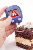 Blood Sugar Test With Warning Sign — Stock Photo