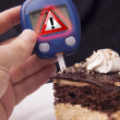 Blood Sugar Test with Warning Sign - Stock Photo