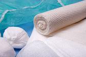 Bandage and Round Gauze Ball — Stock Photo