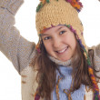 Stockfoto: Beautiful young girl in warm winter clothes