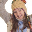 Stock Photo: Beautiful young girl in warm winter clothes