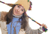 Beautiful young girl wearing hat and gloves — Stock Photo