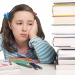 Beautiful girl with color pencils and books worried — Stock Photo