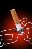 Escena del crimen - hombre asesinado por un cigarrillo — Foto de Stock