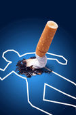 Crime scene - man killed by a cigarette — Stock Photo
