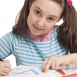 Beautiful little girl drawing — Stock Photo